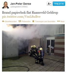 Brand in een container van het Raamveld